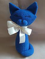 """Текстильная интерьерная синяя игрушка """"Кошечка-скромница"""""""
