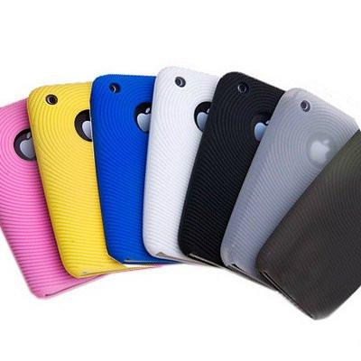 Чехол Iphone 3 силиконовый голубой и фиолетовый цвет