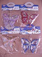 ЕЛОЧНЫЕ украшения Бабочка стекло 6см 1шт/в уп. (10 шт.), фото 1