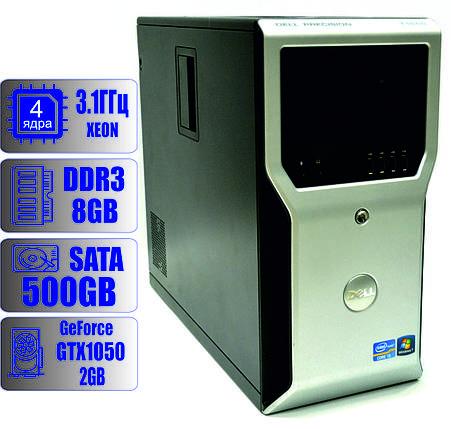 Рабочая станцияDELL Precision T1600 4-ядра (3.1GHz)/DDR3-8Gb/HDD-500Gb/GTX1050, фото 2