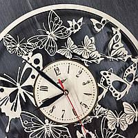 Деревянные настенные часы Вальс бабочек ч/б 300мм
