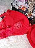 Нижнее бельё лифчик 3 o 7 чашка D размер 90-90 качественный с гипюром бордовый-чёрный-с узором, фото 4