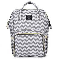 Рюкзак органайзер для мамы Qibaby бело-серый + пеленальний матрасик и термосумка