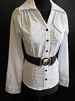 Женские блузы белого цвета с поясом., фото 1