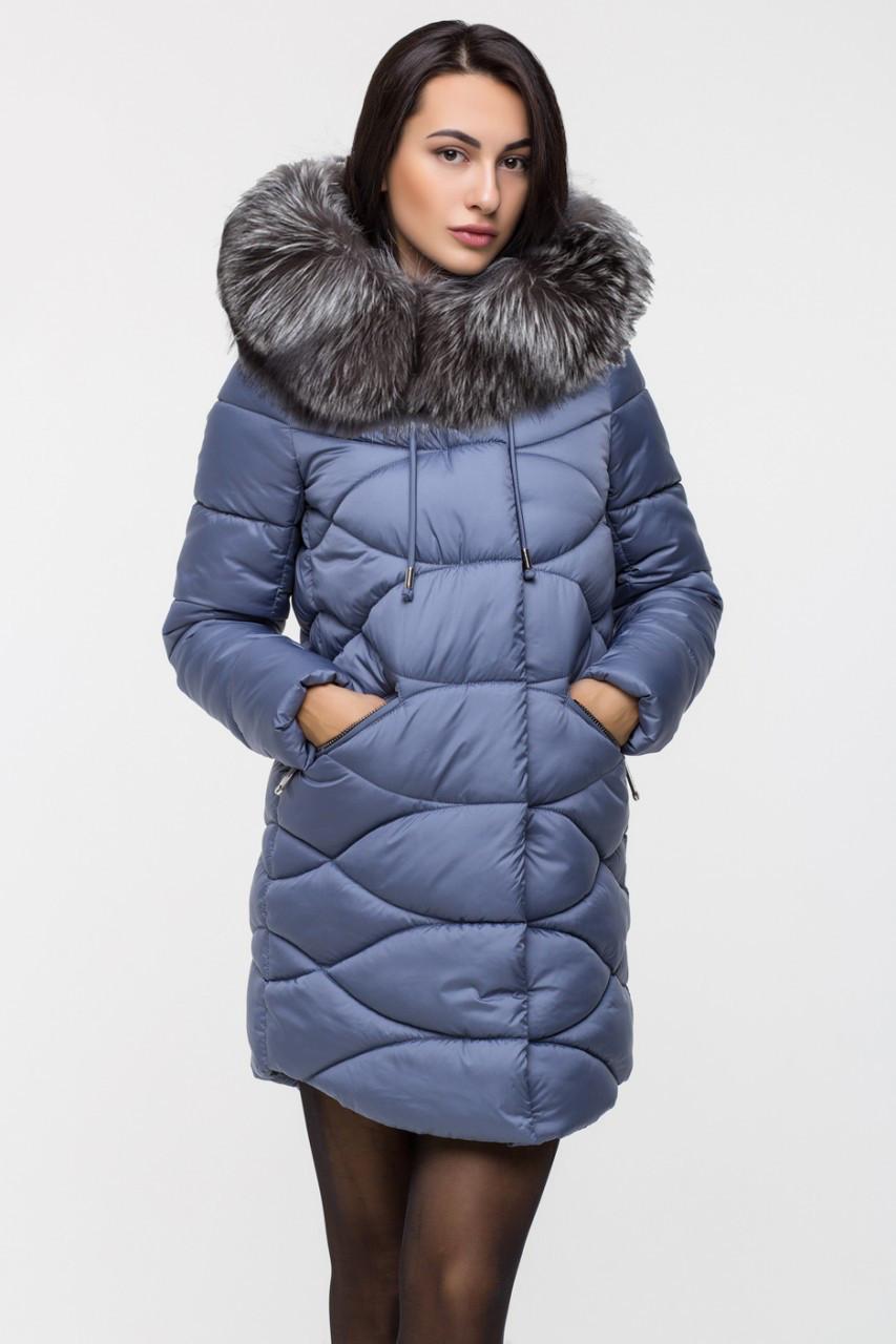 Зимняя удлинённая женская куртка KTL-164 с натуральным мехом чернобурки темно-голубая (#595)