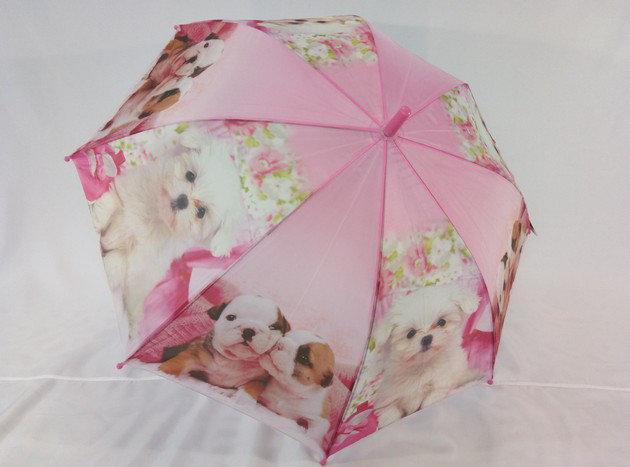 Детский зонт с собачками со свистком  на 8 спиц цвет розовый.
