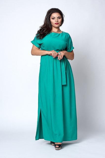 Длинное бирюзовое платье батал