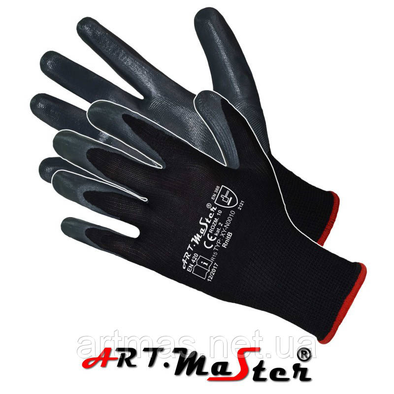 Защитные рукавицы RnitBlack изготовленные из полиэстера, покрытые нитрилом ARTMAS POLAND
