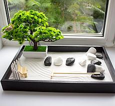 Японский сад камней Сад Дзен с Бонсаи, 27х40 см, классический