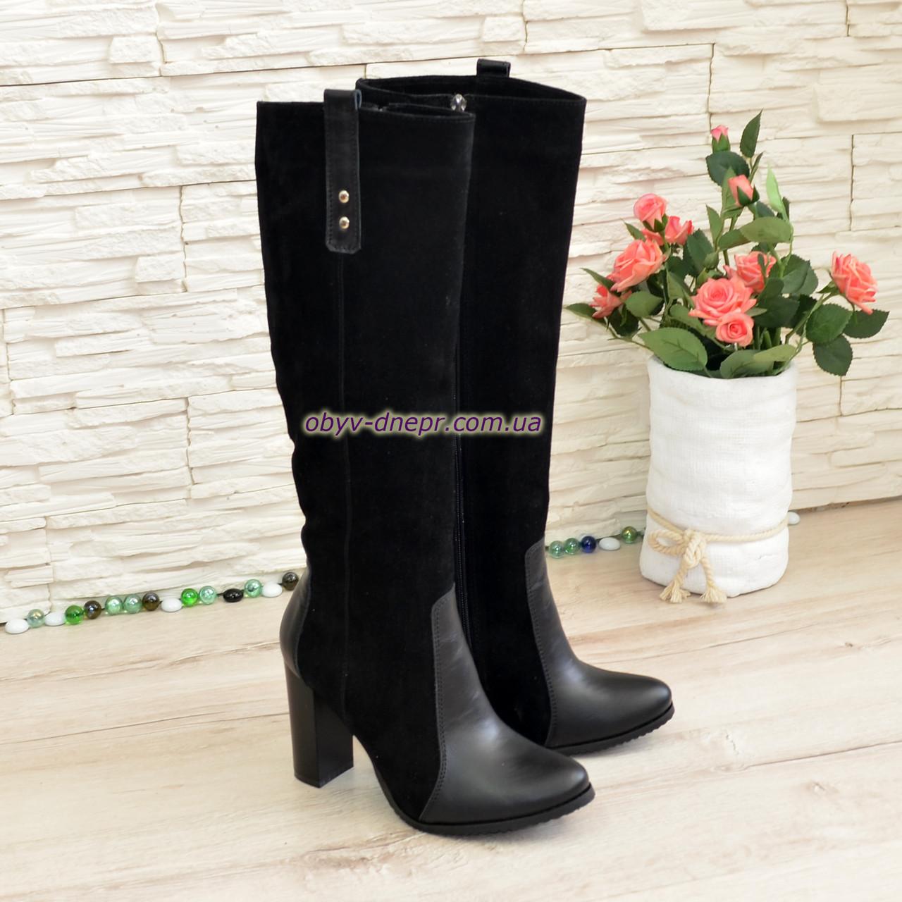 Женские сапоги на устойчивом каблуке, цвет черный