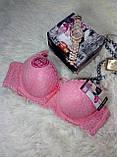 Бюстгальтеры нижнее бельё 9 z 9 чашка B размер 80-80 модный с кружевом бежевый-розовый-с узором, фото 5