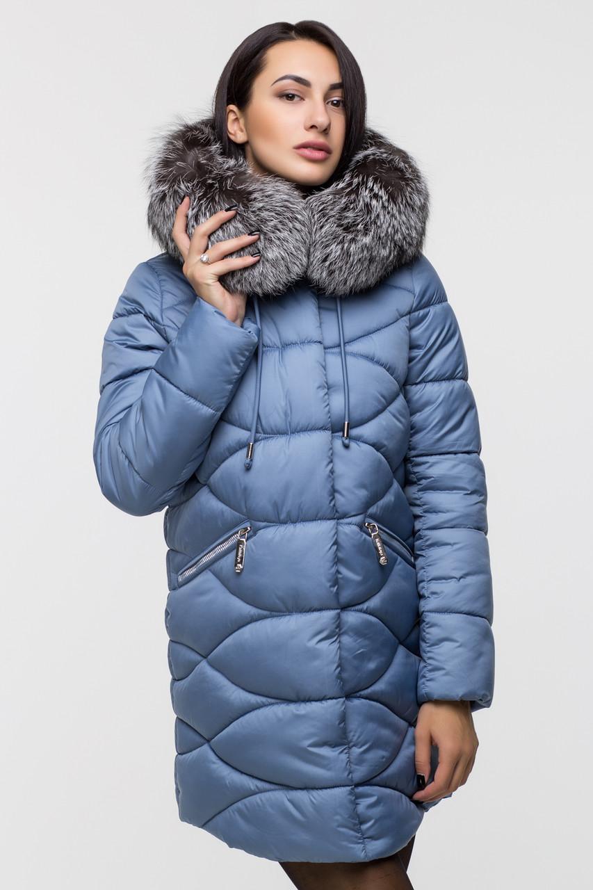 Зимняя удлинённая женская куртка KTL-164 с натуральным мехом чернобурки голубая (#592)