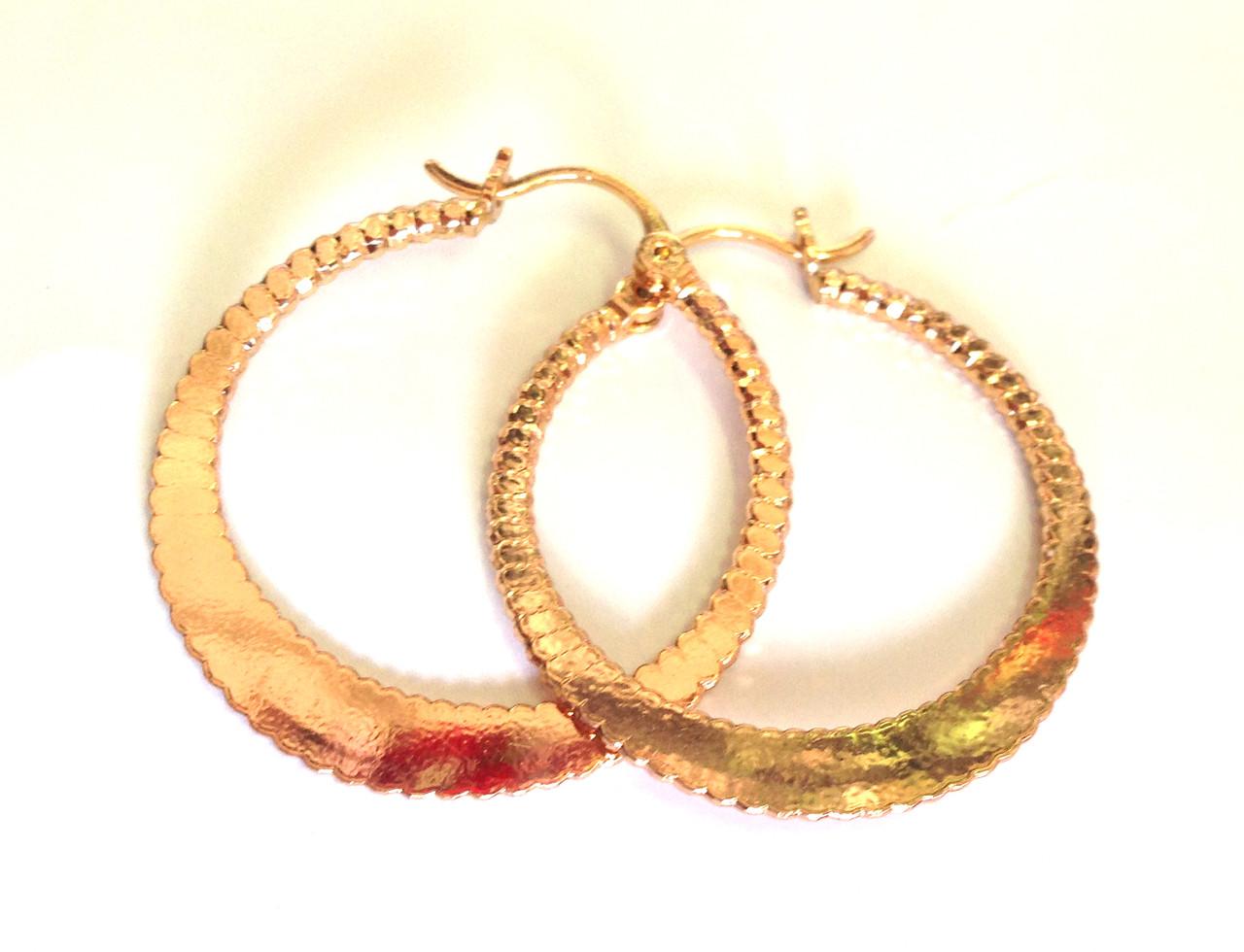 Серьги плоские кольца Хuping Jewelry 18 к, позолота