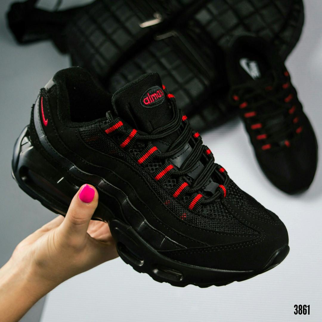 """Кроссовки женские  """"N@ке""""  черные с красным"""