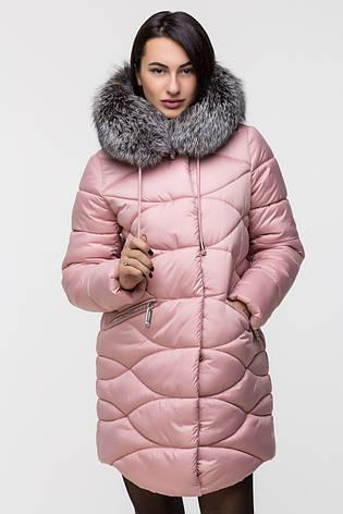 Зимняя удлинённая женская куртка KTL-164 с натуральным мехом чернобурки розовая (#594), фото 2