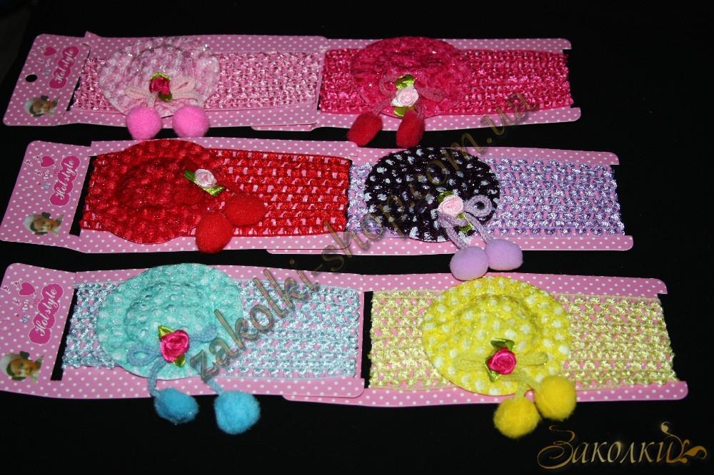 Повязка для волос сеточка шляпка с бубонами, ширина повязки: 6.5 см, 12 штук в упаковке
