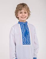 Вышиванка для мальчика с длиным рукавом, синяя вышивка