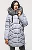 Зимняя удлинённая женская куртка KTL-164 с натуральной отделкой из чернобурки серая (#743)