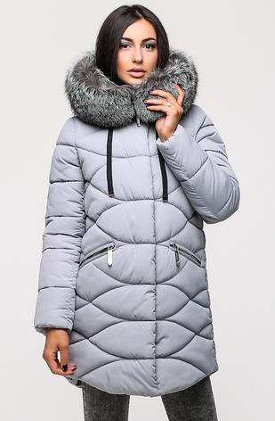 Зимняя удлинённая женская куртка KTL-164 с натуральной отделкой из чернобурки серая (#743), фото 2