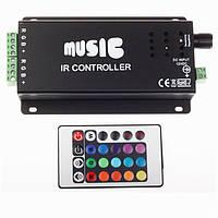 RGB music музичний контролер 12A IR 144W 12V (24 кнопки)