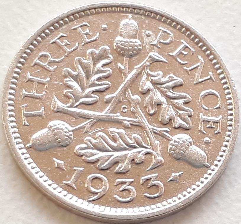 Великобритания 3 пенса 1933 Серебро