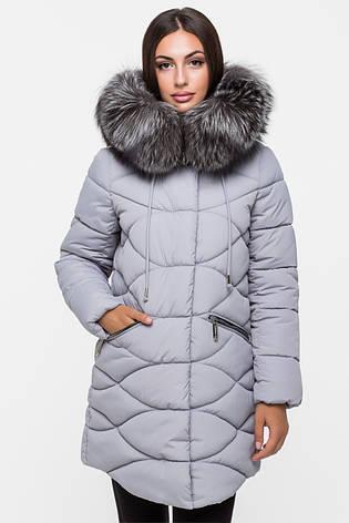 Зимняя удлинённая женская куртка KTL-164 с натуральным мехом чернобурки серая (#600), фото 2