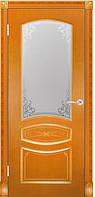 Двери шпонированные Венеция ПО с витражом