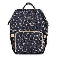 Сумка рюкзак для мамы Qibaby черный + пеленальний матрасик и термоорганайзер