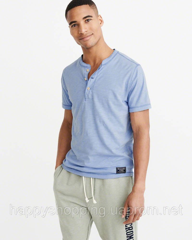 Мужская голубая хлопковая футболка Abercrombie & Fitch