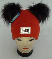 Шапка вязаная для девочки с помпонами 6089 кашемир р 3-12 лет, разные цвета
