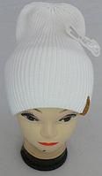 Шапка вязаная для девочки осень-зима кашемир р 3-12 лет, разные цвета