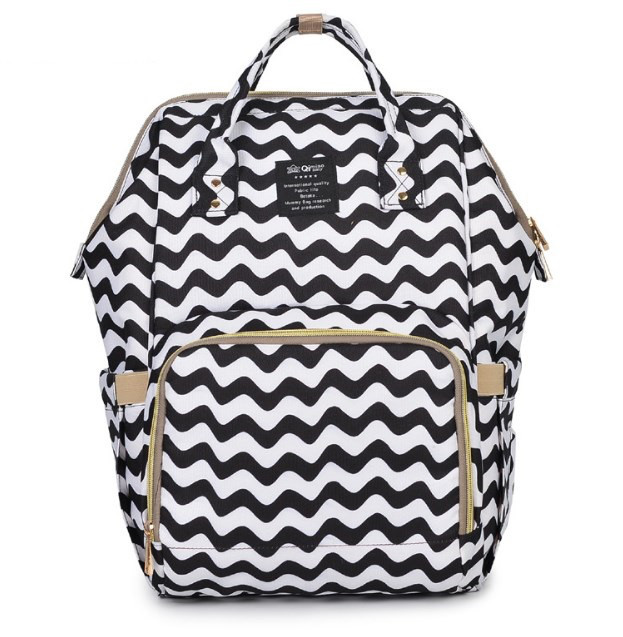 Рюкзак органайзер для мами Qibaby чорно-білий + пеленальний матрацик і термосумка