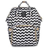 Рюкзак органайзер для мамы Qibaby черно-белый + пеленальний матрасик и термосумка