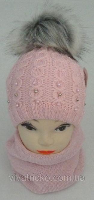 Комплект шапка вязаная с бубоном и шарф зимний с люрексом, р3-12 лет разные цвета