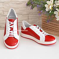 Детские кожаные мокасины на шнуровке, цвет красный, белый, фото 1