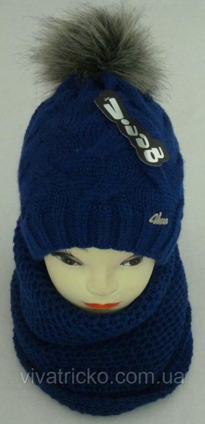 Комплект женский шапка с бубоном и хомут зимний, разные цвета
