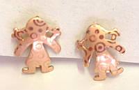 Серьги кольца ХР 18к, девочка, позолота