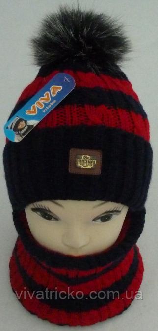 Комплект для мальчика шапка и баф зимний , разные цвета