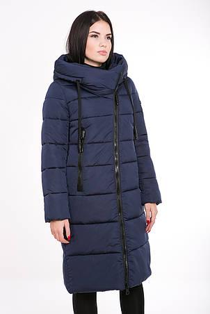 Женская курточка зимняя Kattaleya KTL-160 с ассиметричной молнией темно-синяя (#81), фото 2