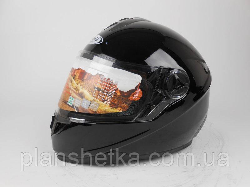 Шлем для мотоциклов HF-122 черный глянец  размер S