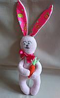 """Текстильная интерьерная игрушка """"Розовый Зайчонок"""""""
