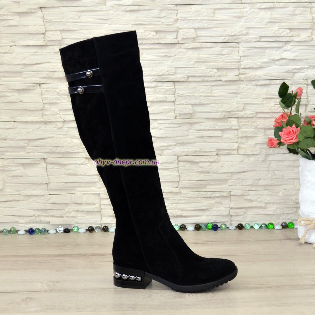 Ботфорты черные женские замшевые на невысоком декорированном каблуке
