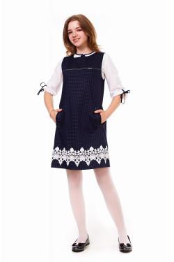 Школьное подростковое платье тёмно-синего цвета