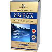 Рыбий жир из лосося (Full Spectrum Omega), Омега, Solgar, 120 капсул