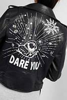 Нереальная курточка косуха черная с надписью, супер качество