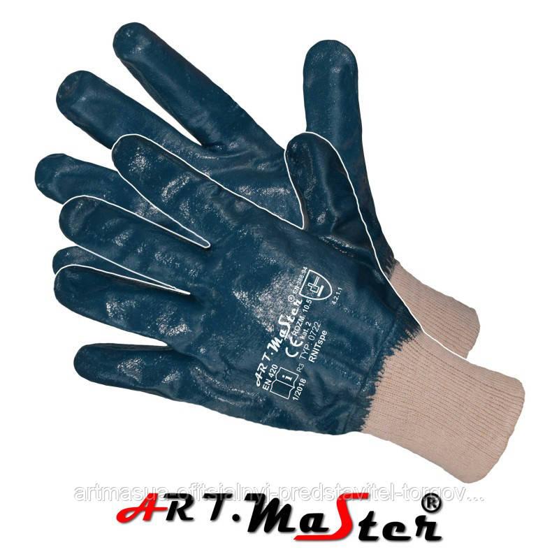 Защитные перчатки RNITspe покрытые нитрилом и законченные трикотажной резинкой ARTMAS POLAND