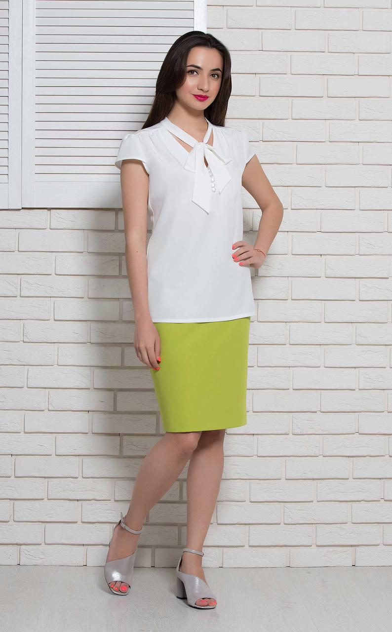 Блуза белая офисная на короткий рукав BerdToni