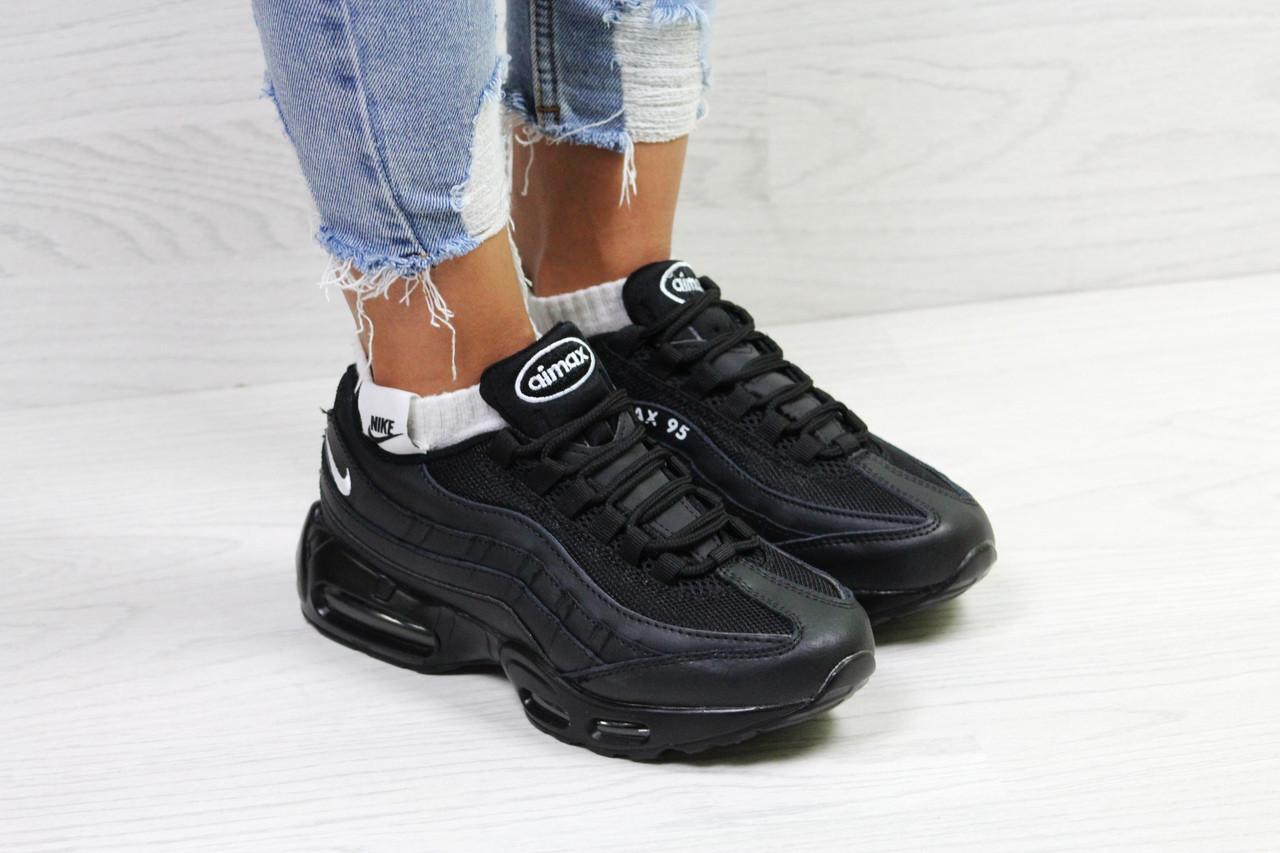 195aacae ... Кроссовки женские Nike Air Max 95 классические молодежные весна-осень  на каждый день (черные ...