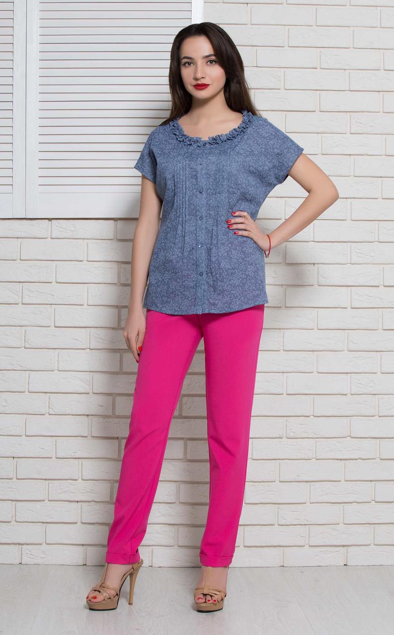 Женская блуза летняя коттоновая синяя BerdToni MKBT9771-1