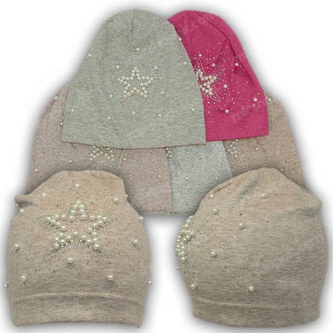 Трикотажная шапка с бусинками, р. 48-50